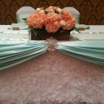 Gorgeuos White Fancy skirting with mint satin and peach florals set in homemade barn board boxes